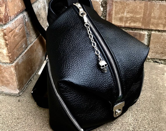 Leather Backpack Trapezoid Backpack in Choice of leathers - Laurel Dasso