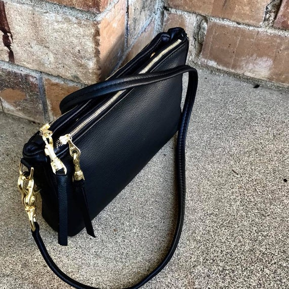 Double Zip Leather Crossbody bag, Cross Body Bag in YOUR CHOICE of leather - Laurel Dasso