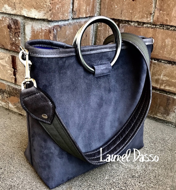 2bc589fb96 ... Suede Ring Handle Tote Bag - CHOOSE your LEATHER - Laurel Dasso