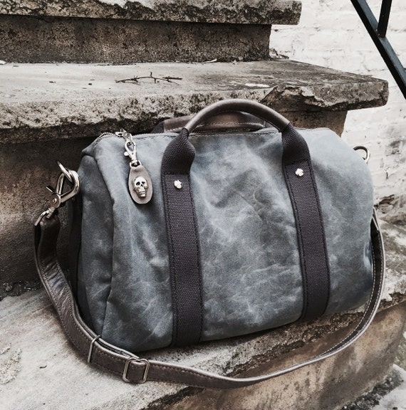 abeedd6fe7 Waxed Canvas and Leather Duffel Bag Satchel Handbag
