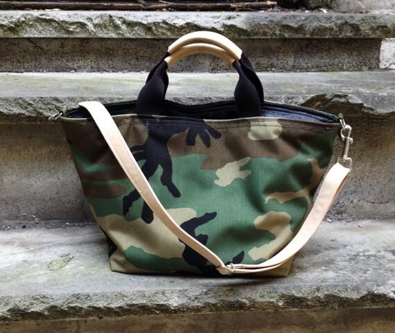 Camo Tote Large Camo waterproof Cordura canvas and Nude leather Triangle Tote Bag Satchel - Laurel Dasso