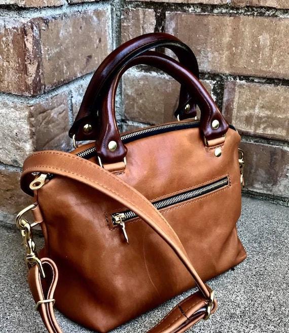 Leather Satchel, Leather zippered Domed Satchel Handbag with rolled handles - Satchel Handbag - Laurel Dasso
