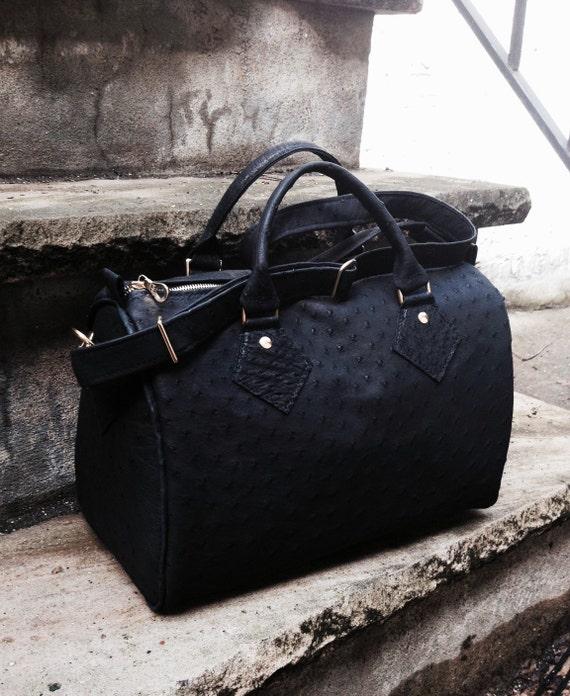 Genuine Ostrich hide Large Barrel Bag Satchel Handbag - Laurel Dasso