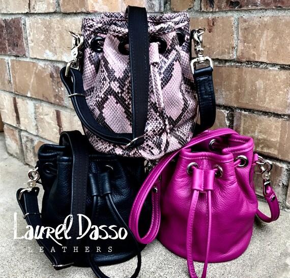Leather Mini Bucket Bag, cinched bucket bag handbag cross-body - Laurel Dasso