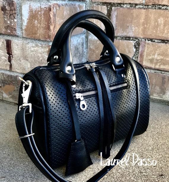 Leather Barrel Bag Handbag Small leather barrel bag leather Boston bag in YOUR CHOICE of leathers, Satchel Handbag - Laurel Dasso