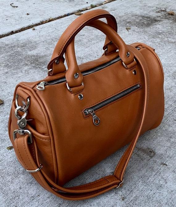 Large Leather Barrel Bag in YOUR CHOICE of leathers Satchel Handbag Boston Bag - Laurel Dasso