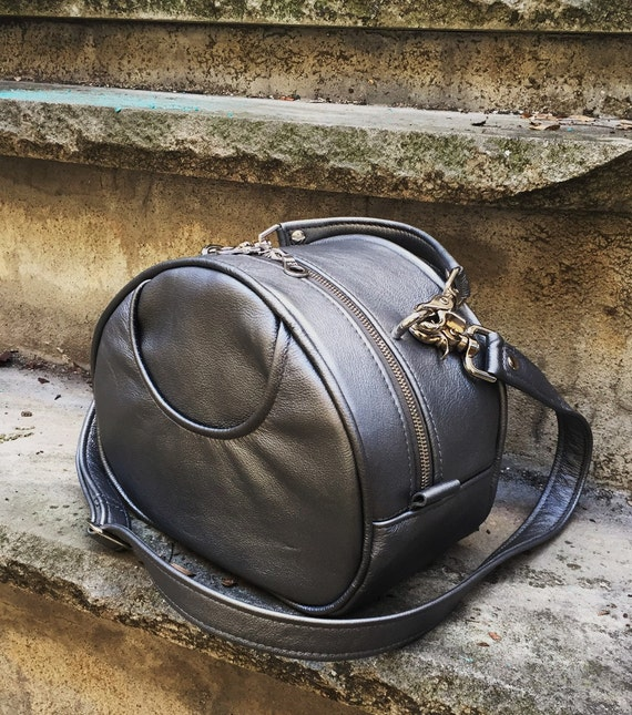 Structured Leather Train Case in Your Choice of leather bag handbag tote - Laurel Dasso