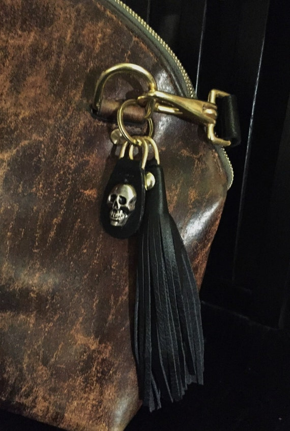 Long Leather Tassel and Skull Keyring - Laurel Dasso