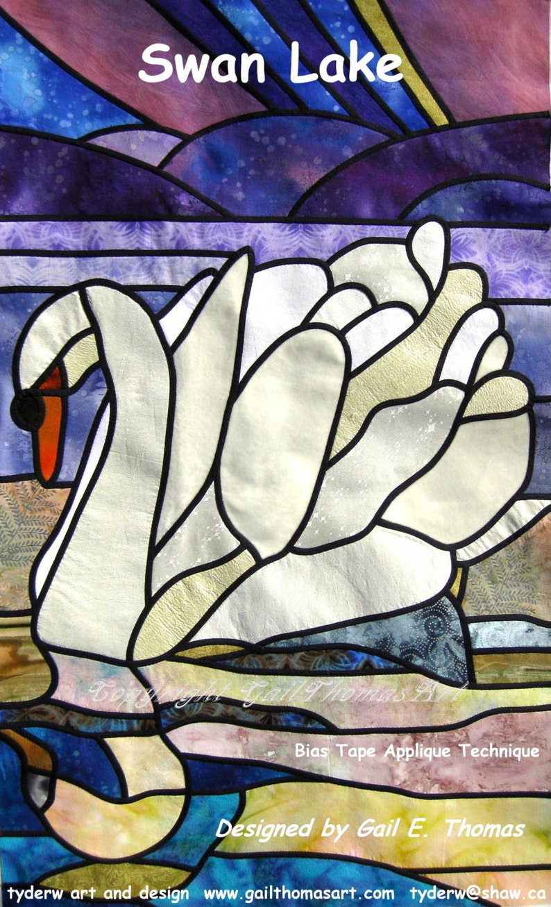 Stain Glass Quilt Pattern Swan Lake image 0