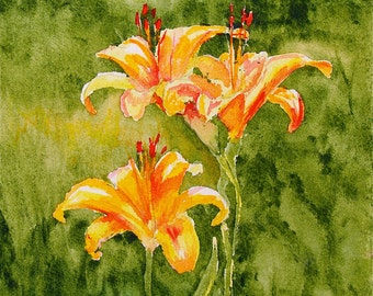 Wild Lilies - FREE U.S. SHIPPING - Original Watercolor
