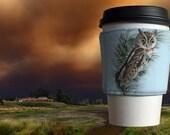 Little Screech Owl - Fabric Coffee Sleeve