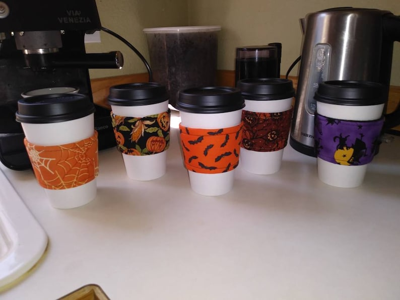 Early Bird Special  5 Halloween Coffee Sleeves for Autumn image 0