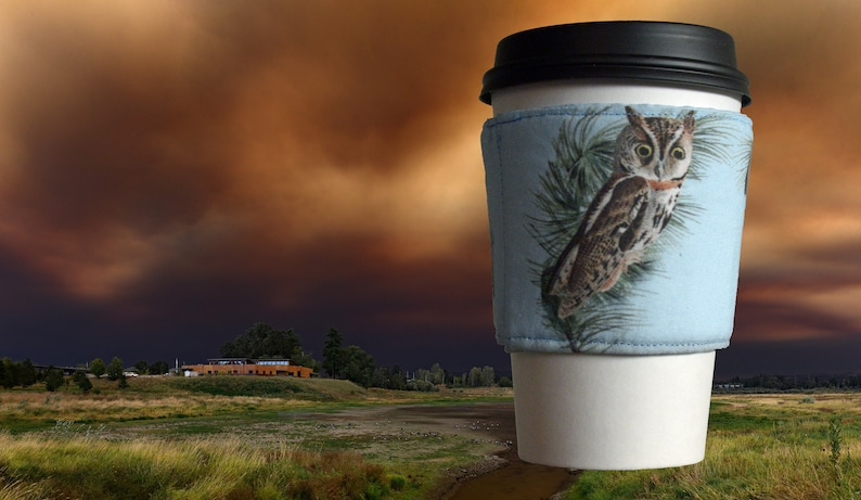Little Screech Owl  Fabric Coffee Sleeve image 0