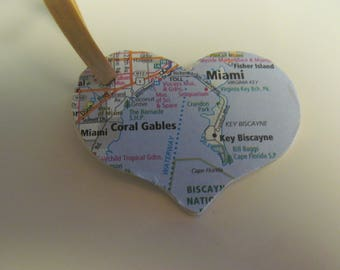 Florida, Miami, Coral Gables, Key Biscayne Heart Ornament -- Atlas, Upcycled (Ref. No. 66)