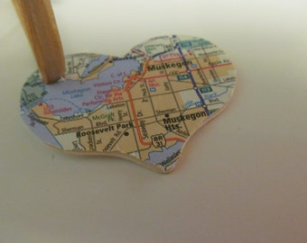 Muskegon, Michigan Heart Ornament -- Atlas, Upcycled (Ref. No. 9)