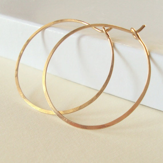 Gold Hoop Earrings Small Hammered Gold Hoops 1 1 4 Inch Etsy
