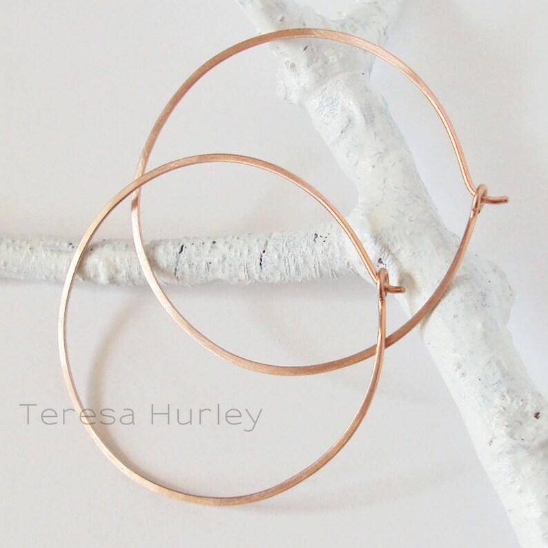 Rose Gold Hoop Earrings 1.5 or 2 inch Thin Hoops Matte Hoop image 0
