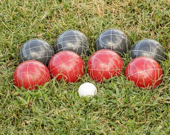 Personalized Bocce Ball Set - 100mm Triumph Competition Red/Black