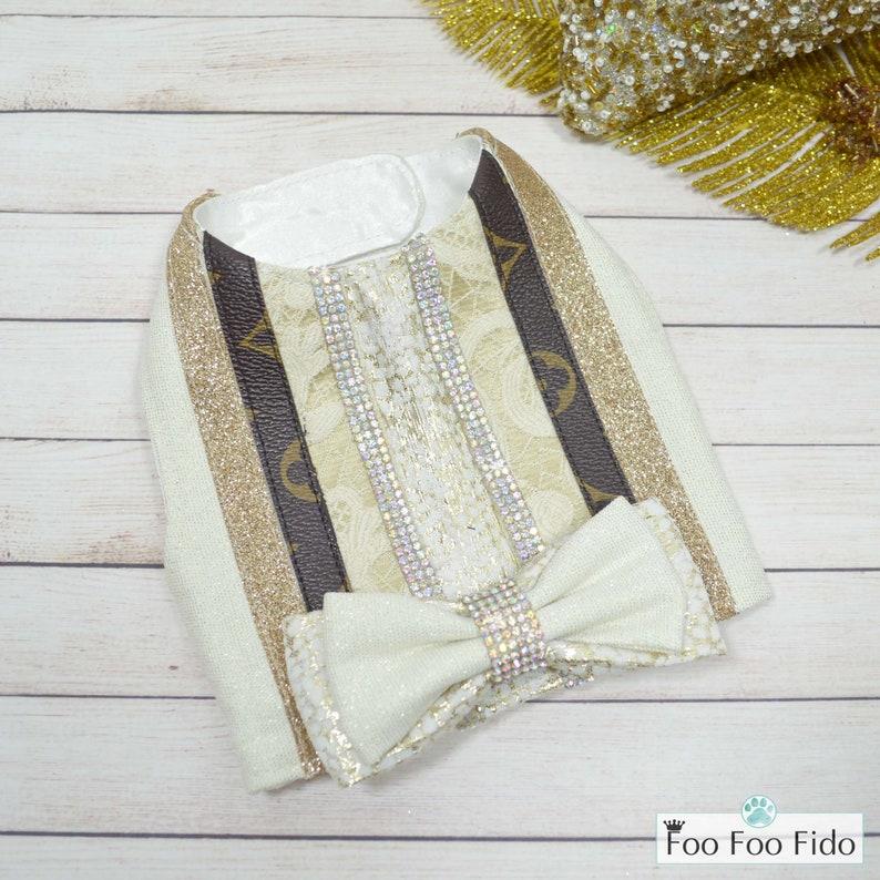 Dog Fancy Gold and Rhinestone Holiday Dog Vest Harness Ivory
