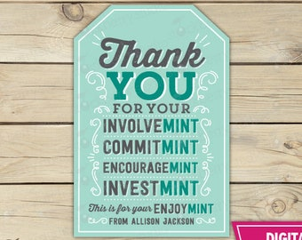 image about Thank You for Your Commit Mint Free Printable called Mint want labels Etsy