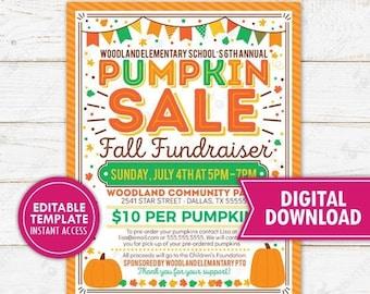 Pumpkin Sale Fundraiser Flyer Printable Editable Fall Harvest Halloween Party Invitation School PTO PTA Church Community Event Template