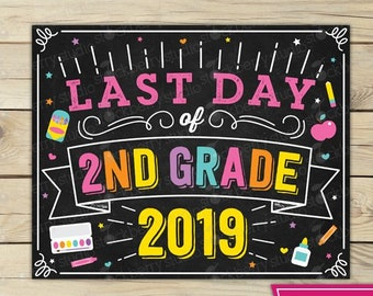 graphic relating to Last Day of 2nd Grade Printable titled Final Working day of 2nd Quality Signal Previous Working day of University Indicator Printable