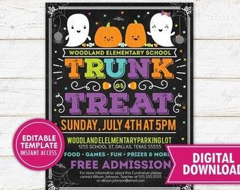 Trunk or Treat Flyer Invite Halloween Party Invitation Kids Neighborhood Festival Church School Community Event Printable Editable Digital