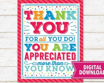 Thank You for all You Do Sign Printable Teacher Appreciation Employee Staff Nurse Volunteer Coworker Boss You're a Star School PTO PTA