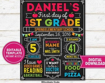 First Day of School Sign Editable Template Back to School Sign First Day of School Chalkboard 1st Day of School Printable Digital Download