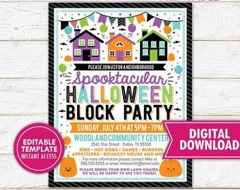 Halloween Block Party Flyer Invitation Neighborhood Festival Church School Community Event Invite Printable Template Editable Digital