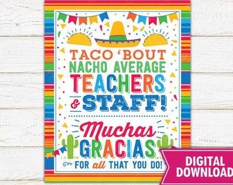 Nacho Average Employees Muchas Gracias For All you Do Fiesta Appreciation Sign Appreciation Week Luncheon Decor Printable INSTANT DOWNLOAD