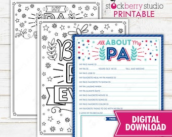 All About My Pa Father's Day Questionnaire Coloring Page Survey Father's Day Printable Father's Day Gift Instant Download