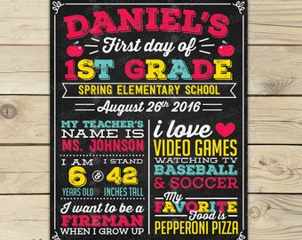 First Day of School Chalkboard Sign 1st Day of School Sign Printable Back to School Sign First Day of School Sign Personalized Digital
