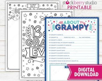 All About My Grampy Father's Day Questionnaire Coloring Page Survey Grampy Fathers Day Printable Father's Day Gift Instant Download