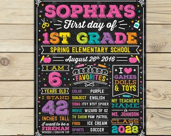 First Day of School Sign Girl First Day of School Chalkboard Back to School Sign Printable First Day of Kindergarten Sign 1st Day of School