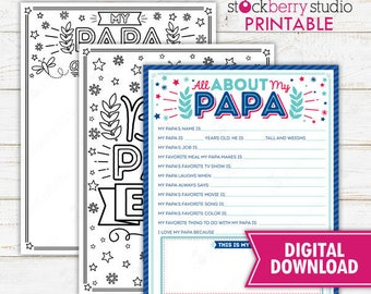 All About My Papa Father's Day Questionnaire Coloring Page Survey Father's Day Printable Father's Day Gift Instant Download