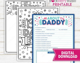 All About My Daddy Father's Day Questionnaire Coloring Page Survey Father's Day Printable Father's Day Gift Instant Download
