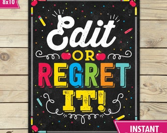 Edit or Regret It - Funny Grammar Punctuation Poster - English Classroom Poster Printable - High School English Classroom Decor - Professor