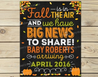 Fall Pregnancy Announcement Sign Printable Fall Baby Announcement Chalkboard Sign Pregnancy Reveal to Grandparents Were Expecting Digital