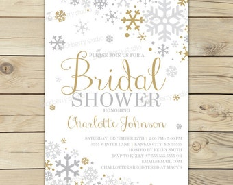 winter bridal shower invitations printable gold silver winter wonderland bridal shower invites christmas bridal shower invitation