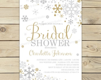 winter bridal shower invitations printable gold silver winter wonderland bridal shower invites christmas bridal shower invitation