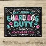 Guard Dog Duty Pregnancy Announcement Chalkboard Sign Printable - Dog Baby Announcement Sign - Photo Props - Pet Pregnancy Reveal