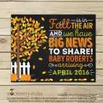 Fall Pregnancy Announcement Chalkboard Printable - Fall Baby Announcement Sign - Pregnancy Reveal to Grandparents - Were Expecting