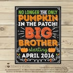 Big Brother Pregnancy Announcement Chalkboard Printable - Pumpkin Pregnancy Announcement Sign - Fall Pregnancy We're Expecting - Photo Props