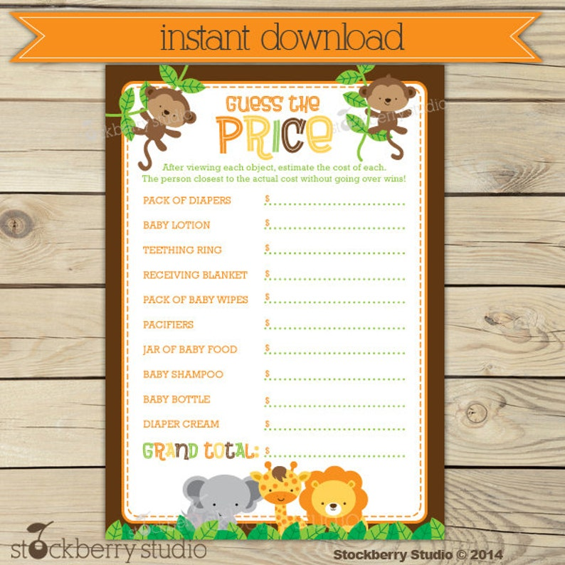 Safari Baby Shower Price Is Right Game Printable  Jungle Baby image 0