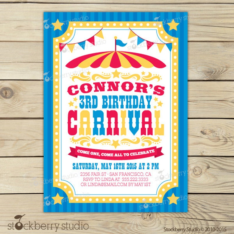picture about Printable Carnival Birthday Invitations named Carnival Birthday Invitation Printable - Carnival Invitation - Circus Invitation - Circus Birthday Occasion - Youngsters Birthday Get together Circus Flyer