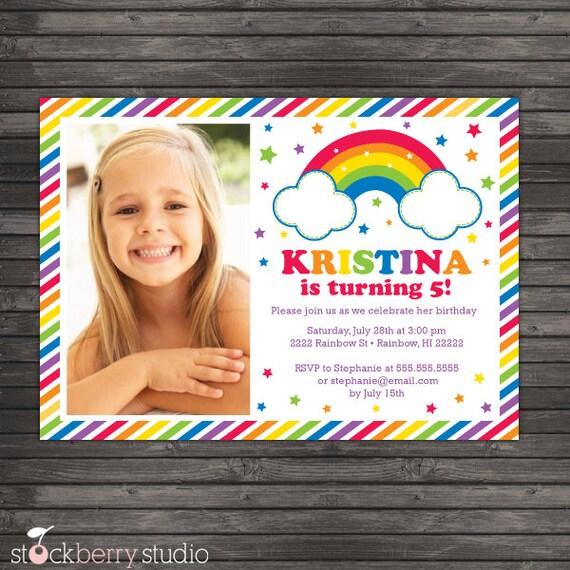 Rainbow Birthday Invitation Printable Party