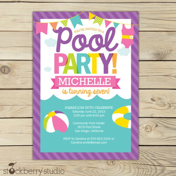 pool party invitation printable girl pool party summer etsy