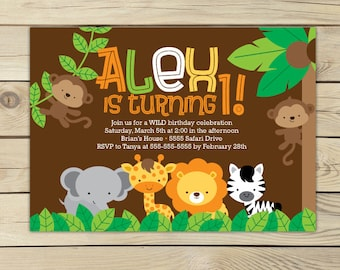 Safari Jungle Birthday Invitation Printable - Jungle Animals - Jungle Party - Safari Invitation - Safari Birthday Invitation - Lion Birthday