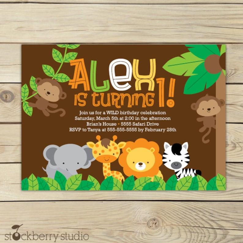 Safari Jungle Birthday Invitation Printable Animals